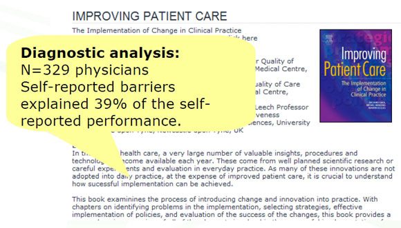 Diagnostic analysis: N=329 physicians. Self-reported barriers explained 39% of the self-reported performance.
