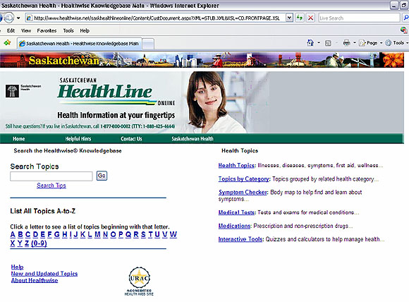 Screen capture: Saskatchewan Health - Healthwise Knowledgebase Main