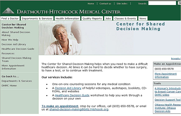 Screen Capture: Dartmouth-Hitchcock Medical Center
