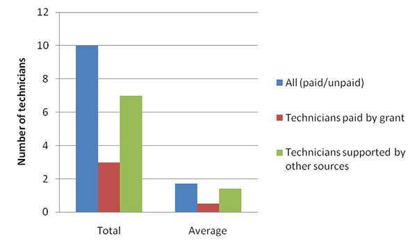 Number of technicians paid by grant or supported by other sources - total and average