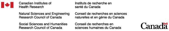Logos: Canadian Institutes of Health Research; Natural Sciences and Engineering Research Council of Canada; and Social Sciences and Humanities Research Council of Canada