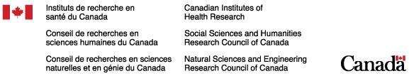 Logos : Instituts de recherche en santé du Canada (IRSC), Conseil de recherches en sciences naturelles et en génie du Canada (CRSNG) et Conseil de recherches en sciences humaines du Canada (CRSH)