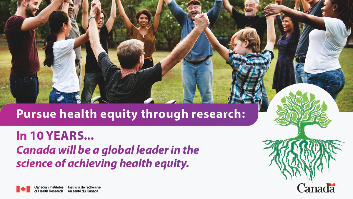 Pursue health equity through research: In 10 years... Canada will be a global leader in the science of achieving health equity.